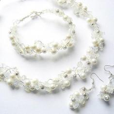 Set cristal stanca opalit si perle sticla 7288