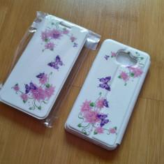 Husa SAMSUNG GALAXY A5 2016 portofel carte flip cu strasuri flori fluturi - Husa Telefon Sony, Negru, Cu clapeta