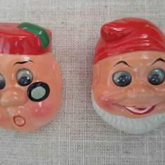 Lot 2 ascutitori din ceramica, vechi, vintage, pitici, 6x3cm, ochi miscatori