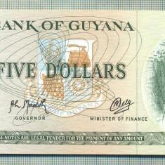 A 764 BANCNOTA-GUYANA - 5 DOLLARS -ANUL(1966-92)-SERIA581654-starea care se vede