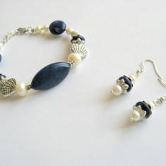 Set lapis lazuli si perle naturale 15564