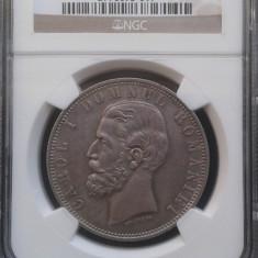 ROMANIA - 5 LEI 1881 - NGC AU 55 DOMN - Moneda Romania, Argint