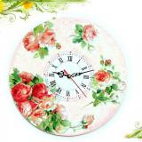 Ceas de perete cu motiv floral - trandafiri 1272