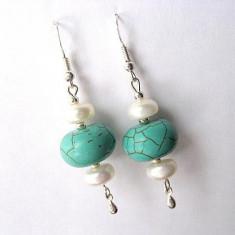 Cercei turcoaz si perle cultura 10427 - Cercei perla