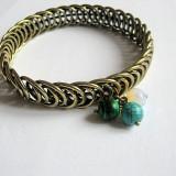 Bratara bronz cu malachit, opal si turcoaz 24972 - Bratara Fashion