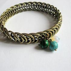 Bratara bronz cu malachit ,opal si turcoaz 24972