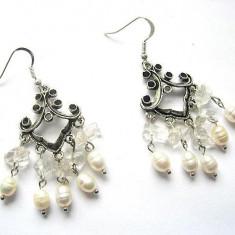 Cercei cristal stanca si perle cultura 11556 - Cercei perla