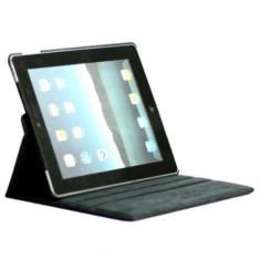 Husa iPad 2 Wi-Fi + 3G Lichee Piele PU Cu Stand Si Rotatie 360 Grade Albastru Inchis - Husa Tableta