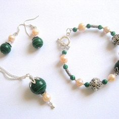 Set malachit si perle naturale 16342