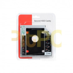 SSD HDD Laptop Caddy 9.5mm slim interfata Sata-Sata carcasa metalica