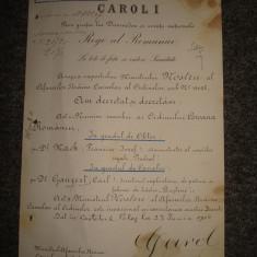 Brevet militar, vechi si original CAROL I al Romaniei din anul 1910
