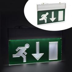 Panou de siguranta LED, afisaj EXIT jos, cu acumulator