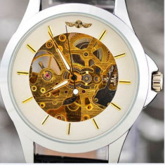 CEAS CASUAL WINNER MECANIC SKELETON FULL AUTOMATIC LIMITED WHITE, BLACK EDITION - Ceas barbatesc, Mecanic-Automatic, Inox, Piele ecologica, Analog