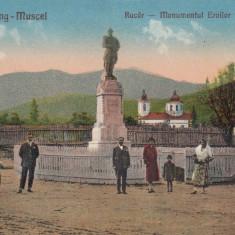 CAMPULUNG - MUSCEL, RUCAR - MONUMENTUL EROILOR 1916-1918, MASINA EPOCA - Carte Postala Muntenia 1904-1918, Necirculata, Printata