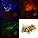 Lampa de veghe Tigru cu proiectie stelute colorate