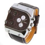 Ceas cu 3 ore diferitei reglaje independente XL curea piele - Ceas barbatesc, Quartz