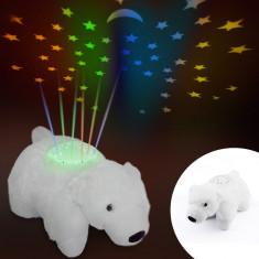 Urs Polar cu proiector stelute multicolore