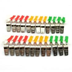 Set 24 fluiere sport metalice cu snur colorat