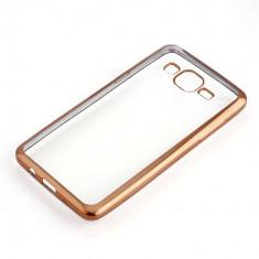 Husa Samsung Galaxy Grand Prime G530H TPU Margine Gold - Husa Telefon Samsung, Transparent, Gel TPU, Fara snur, Carcasa