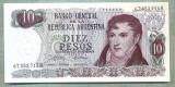 A 949 BANCNOTA-ARGENTINA -10 PESOS-ANUL1973/76-SERIA67553715-starea care se vede