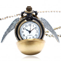 Ceas Pandantiv Lantisor Casual Harry Potter Quidditch Golden Snitch Pocket - Pandantiv fashion