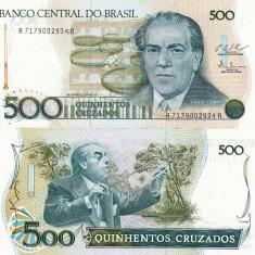 BRAZILIA 500 cruzados ND 1987 P-212c UNC!!! - bancnota america