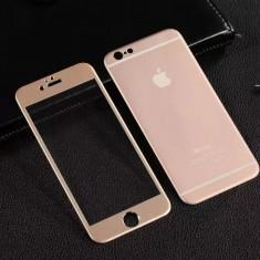 Geam iPhone 6 6S Tempered Glass 3D Fata + Spate Gold - Folie de protectie Apple, Lucioasa