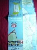 Harta Turistica California cu zona metropolitana Los Angeles si SanFrancisco1968