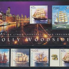 Australia Irlanda 1999 colita si serie emisiune comuna nave cu vele neuzata - Timbre straine, An: 1997, Natura, Nestampilat