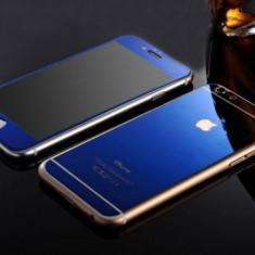 Geam iPhone 5 5S SE Fata Spate Tempered Glass Mirror Blue - Folie de protectie Apple, Lucioasa