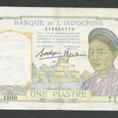 INDOCHINA FRANCEZA 1 PIASTRE 1936 P-54b [18] Semnaturi BORDUGE & BAUDOUIN - bancnota asia