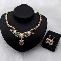 Colier pandantiv cercel Faux perle de cristal placate cu aur bijuterii - Colier perle pandora