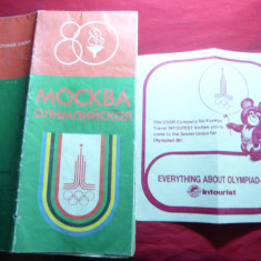 Harta Turistica Moscova Oras Olimpic in 1980, locatii olimpice si turistice