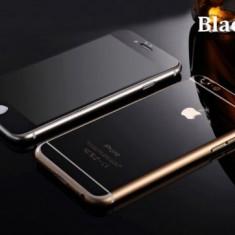 Geam iPhone 5 5S SE Fata Spate Tempered Glass Mirror Black - Folie de protectie Apple, Lucioasa