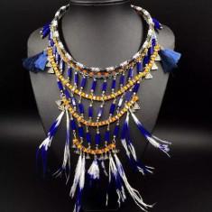 Colier alb albastru pene coliere tribal pandantive Exagerate țesute manual pandora