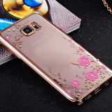 Husa Samsung S6 Edge TPU Flower Gold, Alt model telefon Samsung, Transparent, Gel TPU, Apple
