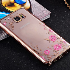 Husa Samsung S6 Edge TPU Flower Gold - Husa Telefon Apple, Transparent, Gel TPU, Fara snur, Carcasa