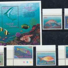 Insula Norfolk 1997 serie 6 timbre si colita pesti neuzate MNH