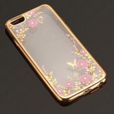 Husa iPhone 5 5S SE TPU Flower Gold - Husa Telefon Apple, Transparent, Gel TPU, Fara snur, Carcasa