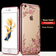 Husa iPhone 6 6S TPU Flower Rose Gold - Husa Telefon Apple, Transparent, Gel TPU, Fara snur, Carcasa