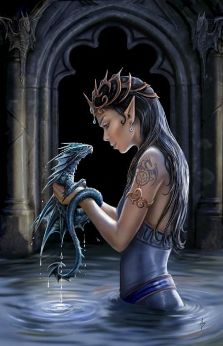Felicitare mică zână și dragon Dragonul de apă foto mare