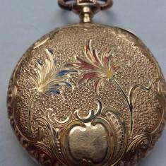 Ceas AUR Medalion Buzunar Dama 14 k- Email - FUNCTIONAL - Ceas de buzunar vechi