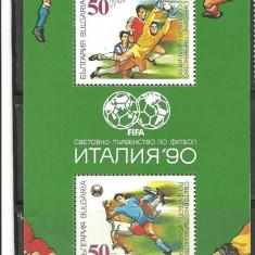 Bulgaria 1990 - FOTBAL CAMPIONATUL MONDIAL ITALIA, bloc nestampilat N154, Sport