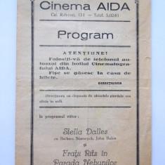 BRPG - PROGRAM CINEMA - ANII 30 - CINEMATOGRAFUL AIDA - Pliant Meniu Reclama tiparita
