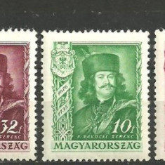 Ungaria 1935 - RAKOCZI FERENC, serie nestampilata CU SARNIERA D56 - Timbre straine, Regi
