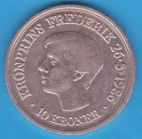 (M925) MONEDA DANEMARCA - 10 KRONER 1986, COMEMORATIVA - 18 ANI PRINTUL FREDERIK, Europa