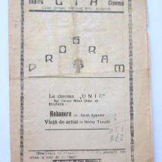 BRPG - PROGRAM CINEMA - ANII 30 - CINEMATOGRAFUL UNIC - Pliant Meniu Reclama tiparita