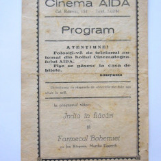 BRPG - PROGRAM CINEMA - ANII 30 - CINEMATOGRAFUL AIDA - Pliant Meniu Reclama tiparita