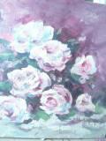 Pictura Trandafiri -ulei- lucrare in cutit , semnata , dim.= 33,5x33,5 cm
