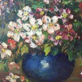 Flori de mar in vas albastru, tablou in ulei pe carton - Pictor roman, Impresionism